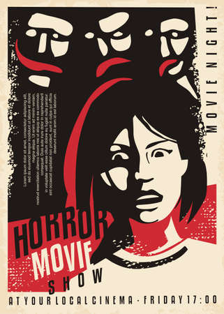 Daemons and monsters horror poster with scared girl. Retro poster for cinema event. Movie graphic vector illustration.