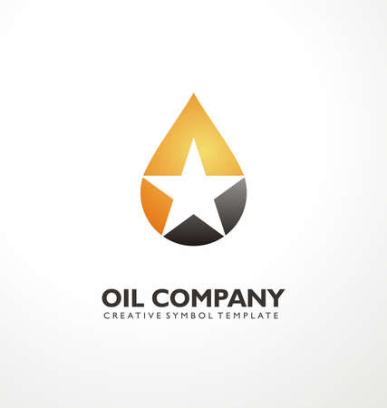 Industrial logo design idea with oil drop and star in negative space. Creative symbol concept for oil and petroleum business. Vector icon layout.  イラスト・ベクター素材