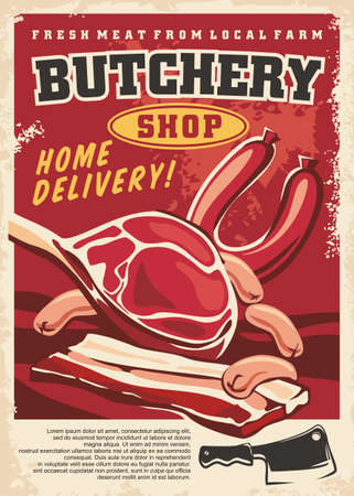 Fresh organic meat from local farm artistic poster template. Retro sign for butchery shop with steak loin, sausages, bacon, cleaver and salami. Vector food image.  イラスト・ベクター素材