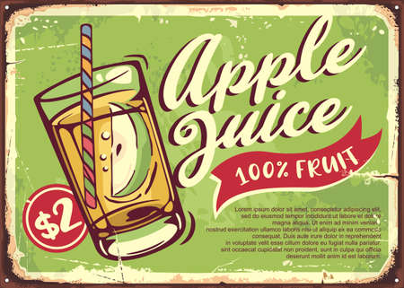 Apple juice retro sign with glass of healthy drink and apple slice. Organic natural product advertisement. Vector vintage ad layout.