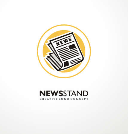 Logo design idea for newsstand business with newspaper icon and yellow circle. Vector press symbol illustration for news stand.  イラスト・ベクター素材