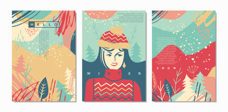 Winter greetings boho style vector cards and covers. Colorful seasonal document templates and backgrounds with young girl wearing  winter outfit. Cold weather landscape with snow falling.