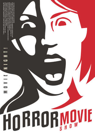 Shocked and frightened girl screaming artistic cinema poster for horror movie genre. Horror film festival vector flyer template with portrait of terrified woman.