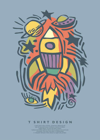 Free style vector doodle drawing template for t shirt or textile print. Clothing and tees custom line art printing graphics.  イラスト・ベクター素材