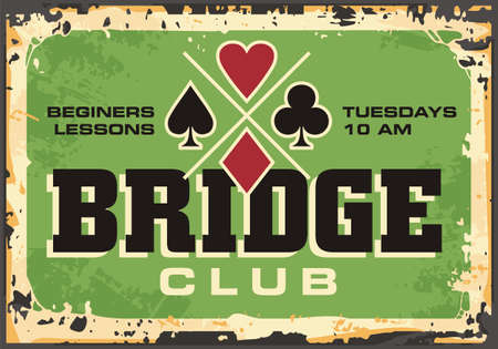 Bridge club retro sign on old rusty metal background. Card games hobbies and leisure concept. Playing cards vector illustration.  イラスト・ベクター素材