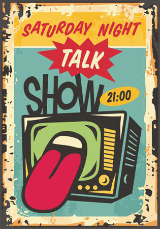 Saturday night talk show vintage advertisement with television receiver and tongue mocking and talking. Retro home entertainment vector sign. Pop art style poster.
