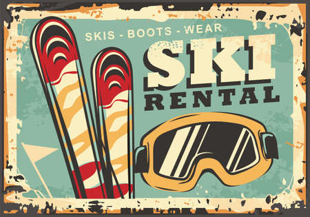 Ski rental retro winter sign design for winter vacation destination ski resorts. Equipment for winter snow sports and activities. Vintage poster vector template.