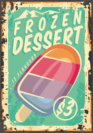 Frozen dessert promotional advertising billboard design layout. Vector vintage style ice cream poster. Sweets and candies promo sign.