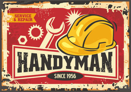 Handyman retro ad with yellow safety helmet, tools and gears. Old sign for house service and maintenance. Vector commercial signboard in vintage style. Construction and home keeping theme.  イラスト・ベクター素材