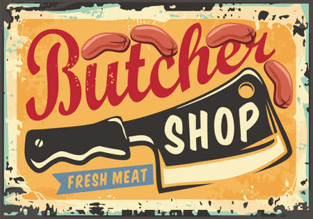 Sign for butcher shop with cleaver graphic, sausages and creative typography. Vector illustration for butchery store. Meat food advertising.