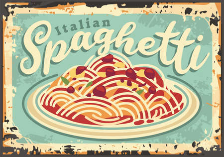 Italian spaghetti vintage restaurant sign board design. Food poster with delicious pasta meal and tomato sauce. Vector pizzeria menu layout.  イラスト・ベクター素材
