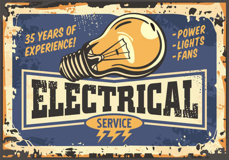Electrical service and maintenance retro sign with yellow light bulb. Electrical power and energy poster concept. Vector template.