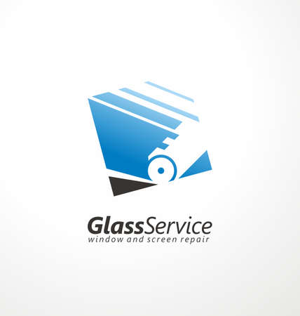 Logo design for glass service business with glass cutter in negative space. Vector symbol. Squared icon idea.