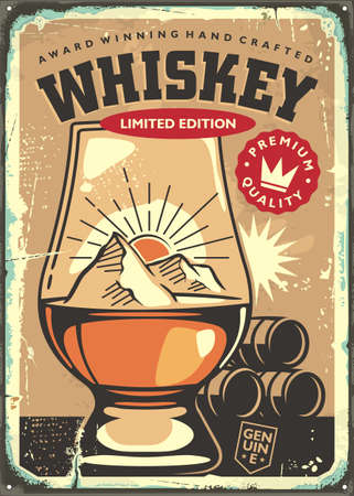 Award winning hand crafted whiskey retro sign advertisement on old rusty metal background. Pub and drinks theme with glen cairn whiskey glass. Vector vintage promo poster.