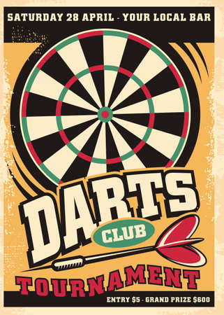 Poster design for darts tournament event with dartboard and arrow. Retro leisure flyer advertisement. Promo vector design layout.
