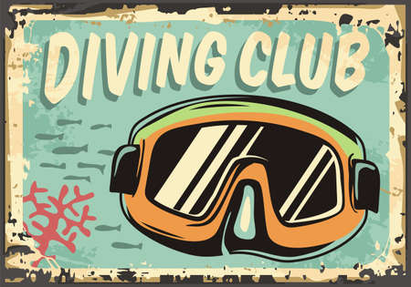 Diving club retro sign with diving mask. Scuba dive vintage poster design with underwater scene. Vector water sports illustration.