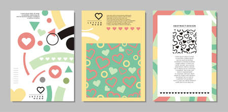 Notebook cover designs with heart shapes and Memphis style pattern. Romantic document or card template perfect for girl accessories. Vector illustration.