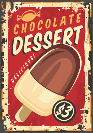 Chocolate ice cream on the stick vintage retro  sign poster on old metal background. Antique advertisement board with tasty dessert. Food vector image.  イラスト・ベクター素材