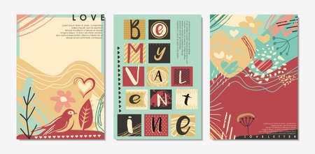 Be my Valentine card templates and cover designs for Valentines day. Romantic love lettering collection. Vector backgrounds and patterns.  イラスト・ベクター素材