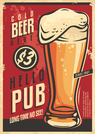 Pub wall decor advertisement with glass of cold beer and  appealing message. Drink beer retro poster on red background. Vintage vector image on old paper texture.  イラスト・ベクター素材
