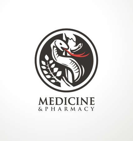 Medicine and pharmacy logo design idea with Aesculapius staff and snake. Medical and apothecary symbol or sign idea. Round vector icon for health care business.
