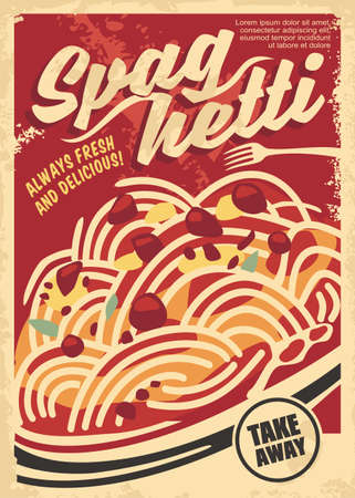 Spaghetti in tomato sauce retro poster layout. Delicious pasta with meat balls and cheese. Fast food restaurant vector menu template.