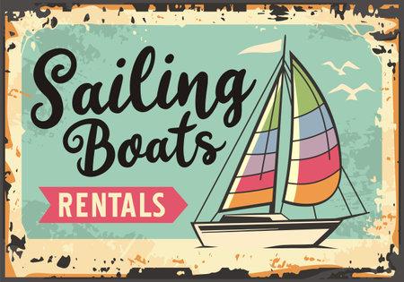 Sailing boats rentals retro beach sign  イラスト・ベクター素材