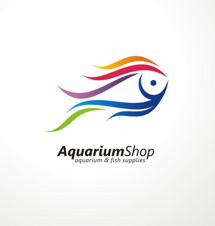 Aquarium shop artistic logo design idea with wonderful colorful fish. Tropical fish creative symbol for aquatic activities. Fish aquariums and supplies pet store vector icon layout.