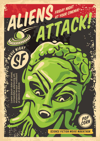 Aliens attack retro poster concept for science fiction movie festival. Vintage sign with creature from outer space and UFO spaceship. Cinema event vector flyer template.
