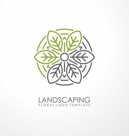 Landscaping logo design with ornamental leaves. Green floral symbol. Vector leaf icon illustration.