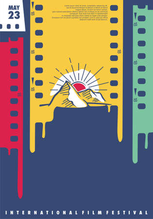 International film festival creative design idea with film strips and sunset landscape drawing. Colorful poster graphic for movie fest. Cinema vector flyer layout.