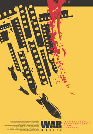 International documentary film festival artistic poster design with air bombs and film strips on yellow background. Vector war movies illustration.  イラスト・ベクター素材