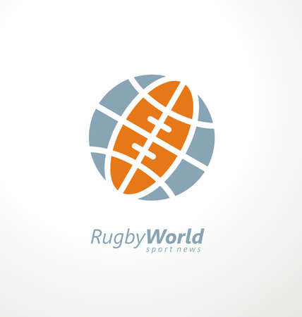 Rugby logo with globe shape and rugby ball, perfect for sports news and articles. American football creative symbol design with world icon. Sport and recreation vector sign.