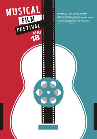 Musical films festival unique cinema concept with guitar shape and film strip. Movie event poster layout. Film reel design elements vector illustration.  イラスト・ベクター素材