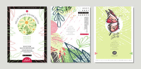 Spring time design template perfect for poster, card, invitation, flyer, cover, banner, placard, brochure or document. Abstract artistic vector patterns and layouts with floral elements, flowers, leav  イラスト・ベクター素材