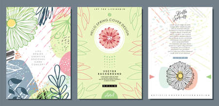 Floral patterns and cover templates. Wedding and anniversary cards and placards designs with plants and flowers. Decorative invitation, brochure and seasonal greetings vector documents.