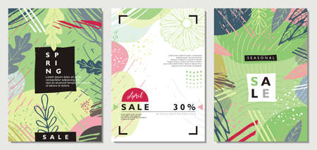 Spring seasonal sale banners and placards set. Floral decoration flyers and cards collection with green leaves, plants and flowers. Vector graphic promo design.