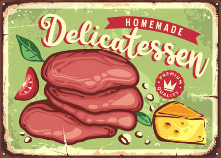 Vintage kitchen decorative sign with homemade delicatessen. Smoked meat slices and cheese retro poster template. Premium quality organic food. Vector sign.  イラスト・ベクター素材