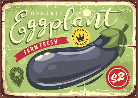 Farm fresh eggplants retro sign with organic vegetables. Vector food market poster. Locally grown products.