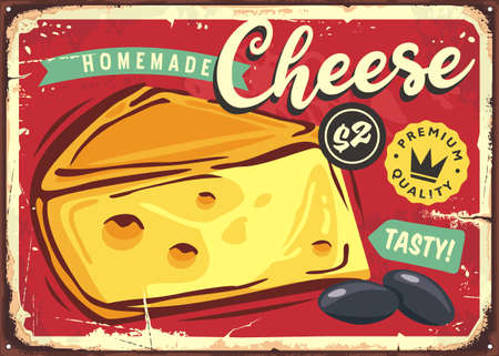 Delicious cheese vintage tin sign. Promotional advertise with cheese slice on old metal textured background. Food vector.