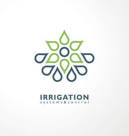 Irrigation logo idea with green plant and water drops. Agriculture industry logo symbol. Farming and agronomy vector icon design.  イラスト・ベクター素材