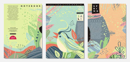 Spring banners and notebook covers designs. Kids illustration with singing bird and beautiful green landscapes. Vector cards, invitations and covers collection.  イラスト・ベクター素材