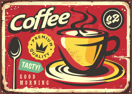 Coffee sign in retro style. Coffee cup drawing on old red background. Cafe bar advertisement. Vintage vector graphic illustration.