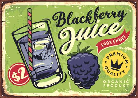 Blackberry juice retro poster advertisement. Organic drink made from fresh berries. Fruit vector sign design.