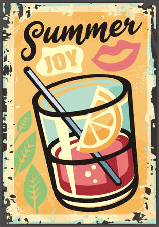 Summer joy tropical theme with exotic juice, fruits,  lips and plants. Retro sign design summer activities. Relaxation and vacation vector illustration. Smoothie label.  イラスト・ベクター素材