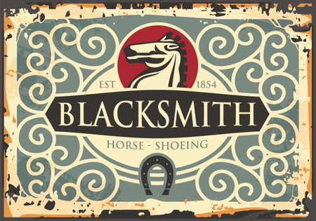 Blacksmith antique sign with horse graphic and horseshoe icon. Old craft blacksmithing vector illustration layout with Victorian ornaments and borders. 18th century image.