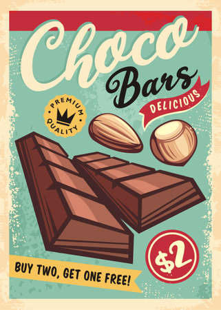 Chocolate bars retro ad for candy desserts store. Chocolates with almonds and hazelnuts vintage poster design. No gradients and effects, just a fill colors. Vector illustration.  イラスト・ベクター素材