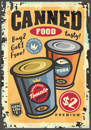 Canned food grocery commercial sign with tomato soup can and tuna fish. Supermarket advertisement with popular products. Sale promotions vector poster design.  イラスト・ベクター素材