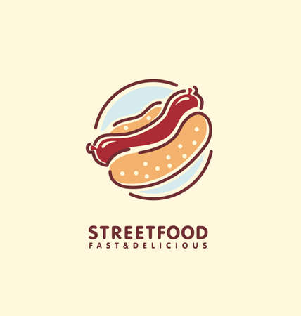 Street food stand logo design idea with juicy hot dog. Line art symbol layout for fast food restaurant. Vector icon illustration, sausage and loaf bread. Simple minimalist emblem.  イラスト・ベクター素材