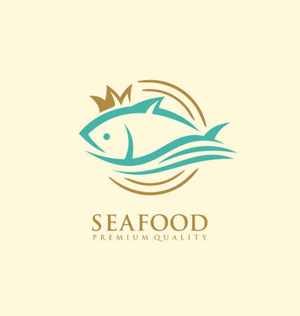 Seafood logo design concept with fresh fish on plate and golden crown. Stylized symbol idea for bistro or restaurant. Food industry vector logo symbol layout with tuna fish.
